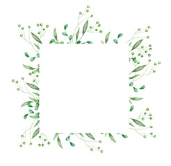 floral greenery card design: branch green leaves square frame. Wedding invite poster invitation Watercolor hand drawn art illustration