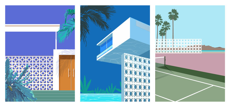 70s 80s decorative blocks wall house and outdoor illustration