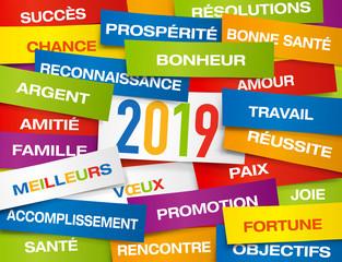 Carte de vœux 2019 montrant une multitude d'étiquettes de couleurs, présentant l'ensemble des vœux à souhaiter pour la nouvelle année.