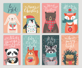 Fototapete - Christmas cards with animals, hand drawn style.