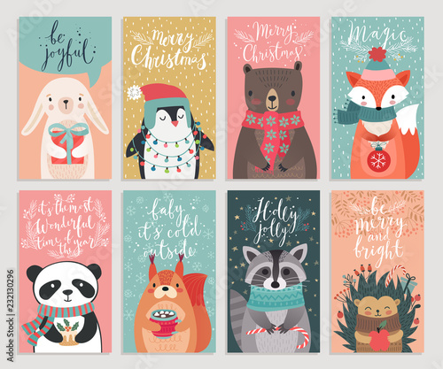 Wall mural Christmas cards with animals, hand drawn style.