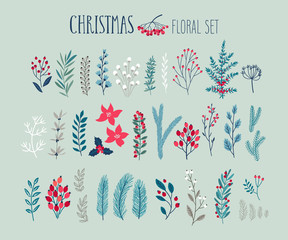 Fototapete - Christmas floral set - hand drawn
