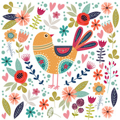 Art vector colorful illustration with beautiful abstract folk bird and flowers.