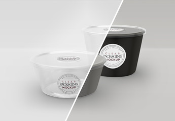 Two Clear Round Containers Mockup