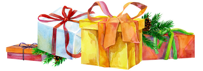 Watercolor Christmas Illustration with gift boxes. For design, print or background