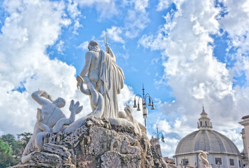 Sculptures and churches on Piazza del Popolo - Rome Italy Wall mural