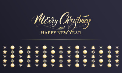 Merry Christmas and Happy New Year. Winter holiday banner with shiny gold decorations, Xmas and New Year calligraphy.