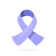 Vector illustration in cartoon style. Periwinkle or light purple ribbon, international symbol of awareness about Esophageal, Stomach or gastric cancer. Isolated on white background