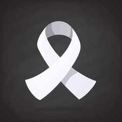 Vector illustration in cartoon style. White ribbon, international symbol of awareness about lung cancer, end male violence against women and girls. Isolated on black background