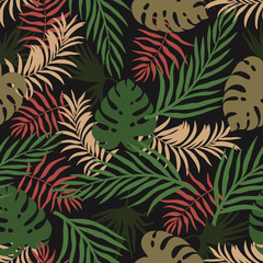 Tropical background with palm leaves. Seamless floral pattern. Summer vector illustration. Flat jungle print
