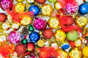 Shiny christmas background image of colorful balls.