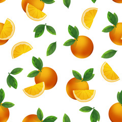Bright oranges and orange slices seamless pattern on white background