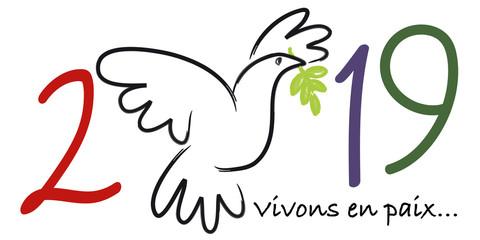 Carte de vœux 2019 sur le concept de la paix, avec le symbole d'une colombe portant une branche d'olivier et le message vivons en paix.