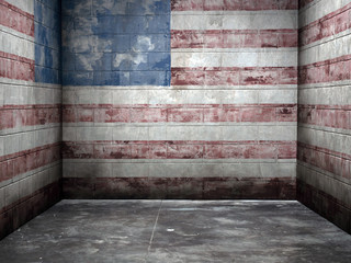 The United States flag painted on the walls of an empty room