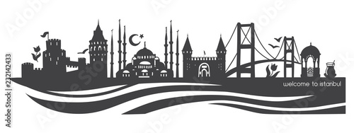 Istanbul symbols  Modern flat vector panoramic illustration of