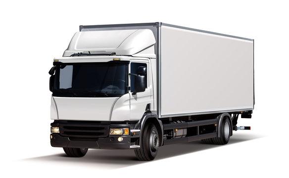 3d illustration of white truck