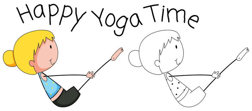 Doodle happy girl doing yoga