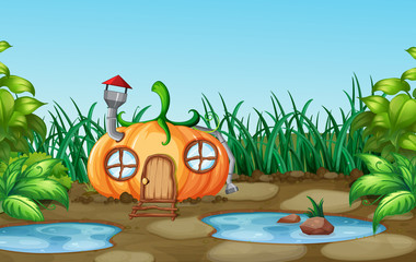 Enchanted pumpkin house in nature