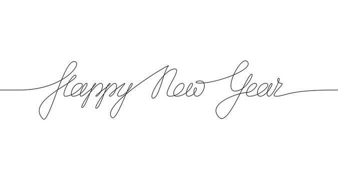 HAPPY NEW YEAR handwritten inscription. Hand drawn lettering. One line drawing of phrase. Vector
