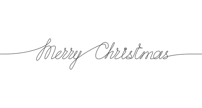 MERRY CHRISTMAS handwritten inscription. Hand drawn lettering. One line drawing of phrase. Vector