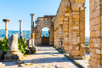 Foto op Plexiglas Marokko Roman Ancient city of Volubilis, Meknes, Unesco World Heritage Site in Morocco