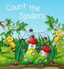 Spider at mushroom house
