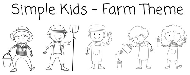 Set of doodle farmer character