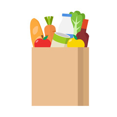 Paper shopping bag full of groceries products. Grocery store isolated on white background. Vector stock.