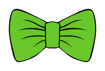 children's illustration of bow. costume butterfly green vector drawing with contour. xmas decor isolated on white background.