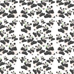 Seamless cute panda wallpaper