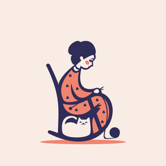 Knitting woman on a chair, vector illustration