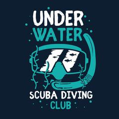 scuba diving mask illustration vector t shirt printing, poster, banner, abstract design