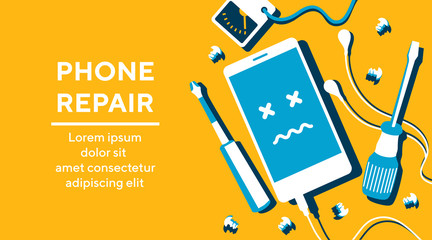 Obraz Phone repair fix poster banner flat vector illustration - fototapety do salonu