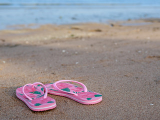 pinky sandal on the beach for summer holiday trip planning
