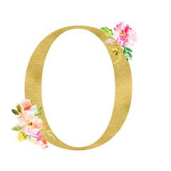 Gold and Floral Monogram Letters. Decorative ABC Alphabet