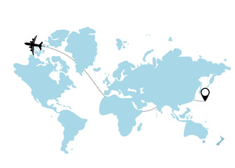 Airplane travel concept. Plane with start point and route line. Vector background.