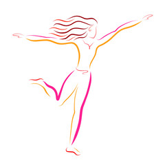 Running woman, sense of flight, colorful sketch