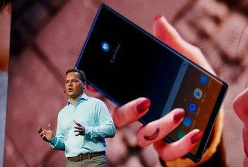 Dag Kittlaus, CEO of Viv Labs, speaks during the unveiling of Samsung's new foldable screen smart phone, during the Samsung Developers Conference in San Francisco