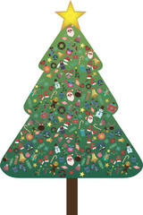Christmas tree isolated on a white background decorated with gifts pattern. Merry Christmas and a happy new year. Flat style vector illustration.