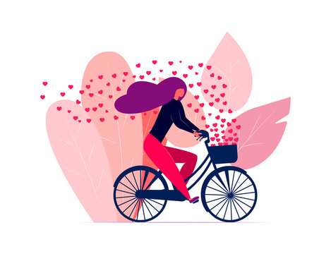 Happy girl riding a bicycle with hearts flying away in the wind. Vector illustration with cute young woman on the bike.