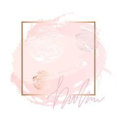 Golden pink nude art frames. Modern card design, brush stroke, lines, points, gold, premium brochure, flyer, invitation template. Beauty identity elegant style. Hand drawn vector