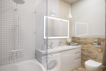 3d illustration of an interior design of a white minimalist bathroom