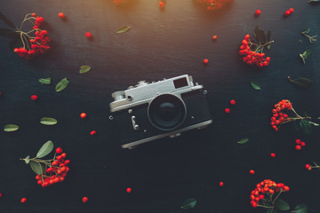 Flat lay hipster style old vintage photography camera