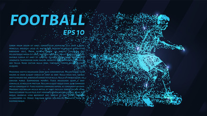 Football glowing blue particles. A football player stops the ball.