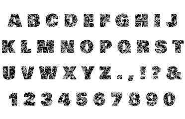 Marbled Set of ALPHABET and NUMBERS