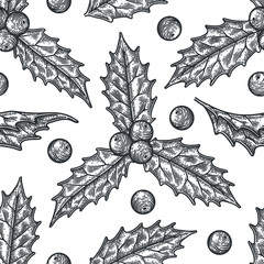 Hand draw engraving of a holly berry in a seamless pattern.