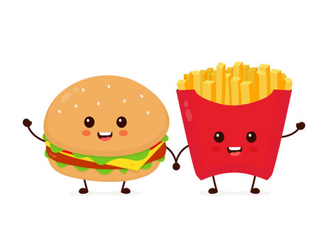Happy smiling funny cute burger