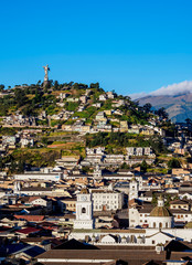 View over Old Town towards El Panecillo Hill, Quito, Pichincha Province, Ecuador