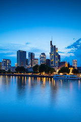 Skyline at dusk, Frankfurt, Hesse, Germany