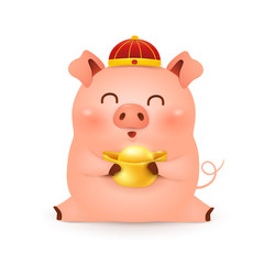 Chinese New Year 2019. Cute cartoon Little Pig character design with traditional Chinese red hat and holding chinese gold ingot isolated on white background. The year of the pig. Zodiac of the Pig